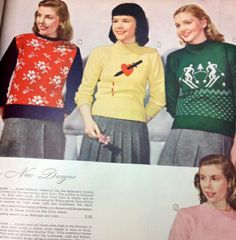 """This just makes me laugh! This is from the Montgomery Wards 1947-1948 book!  The description of the sweater in the middle reads """"Striking applique... dagger & red heart adds dash...""""  It goes on to say you can wear the applique in the back.;-)   - Lilacs- N-Calico & Co. Mason Tx."""
