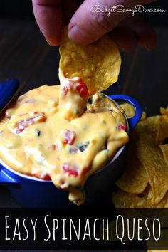 This dip is SOOO easy to make - my husband made the dip you see in the picture!!! Easy Spinach Queso Recipe