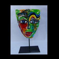 Miss Face metal sculpture