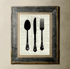 Utensils  Printed on a Vintage Dictionary Page by TheLittleRice, $8.00
