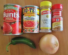 Restaurant Style Salsa: Ingredients: 1 (15oz.) can tomatoes and green chiles (Rotel) 1 (15 oz) can whole peeled tomatoes (don't drain juices) 1/2 jalapeno, cut into chunks 1/2 yellow onion, cut into chunks 3/4 teaspoon garlic salt 1 teaspoon kosher salt Impress with a Fun Chicken Recipe See More! 1/2 teaspoon ground cumin 1/4 teaspoon sugar