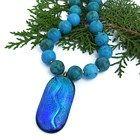 Blue Dichroic Pendant Turquoise Necklace Handmade Jewelry Gemstone