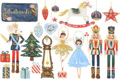Watercolor Nutcracker Clipart Set - Illustrations - 1