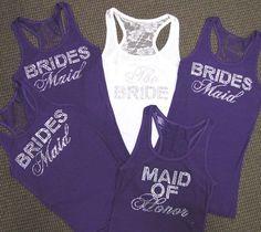 Lace Bridesmaid Tank Tops - Lace Bride Tank Top $23.95; racerback wedding party tanks; choose color and crystals