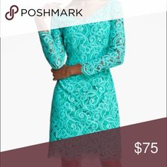 Lilly Pulitzer 'Helene' double v-neck Lace Dress Worn once. Like new condition. Teal lace dress with double v-neck. Sleeves are third quarter in length. Lilly Pulitzer Dresses Midi
