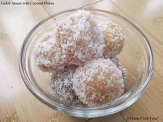Gulab Jamun with Coconut Flakes