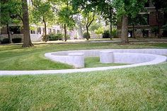 Drury University built this interesting geometric shape in concrete, what they call an outdoor classroom.