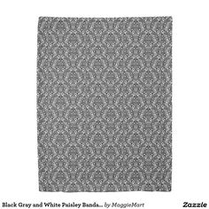 Black Gray and White Paisley Bandana Duvet Cover