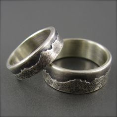 9mm Custom Mountain Range Wedding Ring made by BethMillnerJewelry