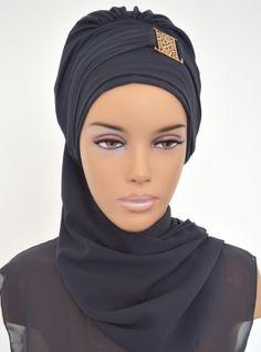 Prêt foulard en mousseline de soie - Gris - Ayse Turban Tasarim