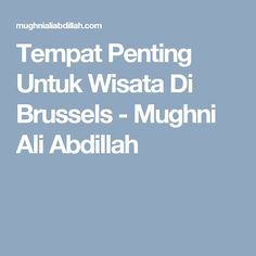 Tempat Penting Untuk Wisata Di Brussels - Mughni Ali Abdillah