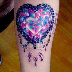 Sparkling Crystal Heart Tattoo by Laura Anunnaki .Sparkling Crystal Heart Tattoo by Laura Anunnaki Bunny Tattoos, Girly Tattoos, Pretty Tattoos, Cute Tattoos, Beautiful Tattoos, Body Art Tattoos, Sleeve Tattoos, Heart Tattoos, Tatoos