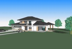 DOM.PL™ - Projekt domu ATS AT-154 CE - DOM UP2-11 - gotowy koszt budowy 2 Storey House Design, Modern House Design, Architectural House Plans, Home Fashion, Mansions, House Styles, Villas, Home Decor, Architecture
