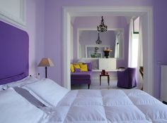 purple, pastel violet, white and a splash of bright yellow - interior colours