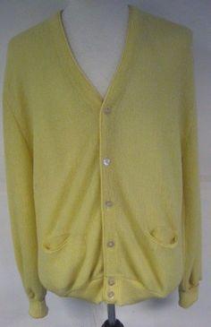 Pendleton Men's Wool Cardigan Yellow Long Sleeve Two Pockets Size XL #Pendleton #Cardigan78