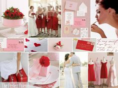 Blush, white, and red color scheme for November through March wedding (January or March)