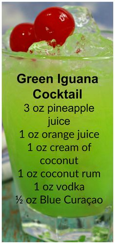 Green Iguana Cocktail ~ A juicy and delicious drink that is sure to be a favorite this Summer! Green Iguana Cocktail ~ A juicy and delicious drink that is sure to be a favorite this Summer! Liquor Drinks, Cocktail Drinks, Summer Cocktails, Green Cocktails, Funny Cocktails, Bourbon Drinks, Vodka Drinks, Champagne Cocktail, Martinis