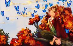 Bilbo and Butterflies (wallpaper ver.) by ewelock.deviantart.com