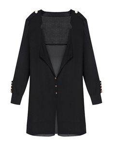 Long Solid Color Buttons Slim Knit Cardigan