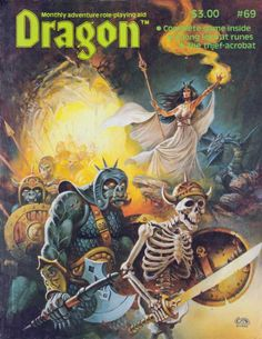 With a dragon by her side, a sorceress raises her staff and casts a fiery spell to lead a mixed army of orcs and undead out of their subterranean lair.  Clyde Caldwell's painting for Dragon No. 69, January 1983, is a fan favorite that packs a lot of iconic details into one image. (But what is under the front of her dress?)