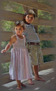 Full-length pastel portrait of two children by a Portraits, Inc. artist.  INCREDIBLE!