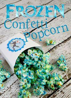 Frozen~great movie/party idea~Easy recipe for Frozen Confetti Popcorn!!