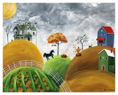 Hilly Halloween Giclée archival matte reproduction of an original acrylic on canvas painting using Epson Ultrachrome HDR archival ink printed on