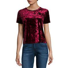 Arizona Short Sleeve Velvet Top- Juniors | Burgundy | XL