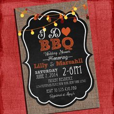 "Fall Autumn Style  ""I Do"" BBQ Barbecue Couples/Coed Wedding Shower Invitation- I Design, You Print on Etsy, $15.00"