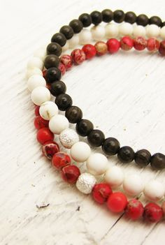 Red Jasper Bead Bracelet with Sterling Silver Stardust