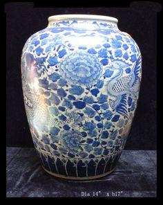 $1280   Chinese Blue & White Porcelain Phoenix Dragon Pot