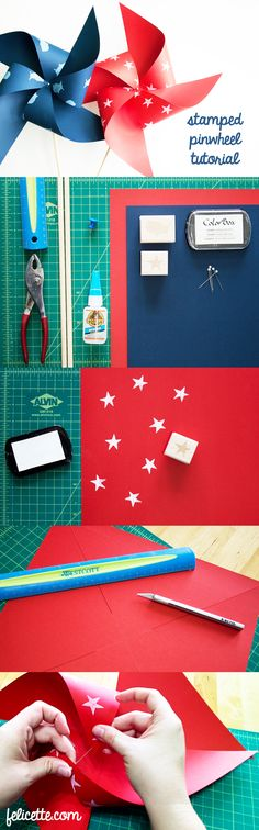 DIY: Felicette's 4th of July Stamped Pinwheel Tutorial