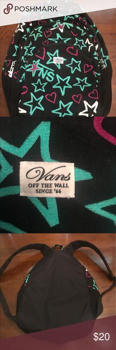 Vans off the wall stars and hearts backpack Stars and hearts. Black,teal and pink. No holes, rips or tears. Excellent choice condition. Vans Bags Backpacks