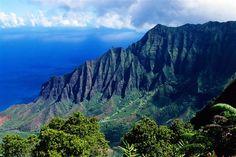 "Waimea Canyon, Kauai Kalalau Valley, on Kauai's west side, is more than feet deep and provides stunning panoramic views. Waimea is nicknamed ""The Grand Canyon of the Pacific. Travel Tours, Travel Destinations, Napali Coast, Hawaii Travel Guide, Hanalei Bay, Waimea Canyon, Kauai Hawaii, Vacation Spots, Vacation Ideas"