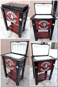 upcycled wood pallet cooler