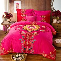 TheFit Home Textile, Cotton Sanded Bedding Bohemian Bedding Boho Bedding Queen Sets , Sanded Cotton Duvet Cover Set (King) Bohemian Bedding Sets, Bohemian Bedroom Decor, Boho Bedding, Luxury Bedding, Bed Sheet Sets, Bed Sheets, Queen Bedding Sets, Dream Bedroom, Bed Spreads