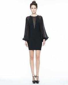 Sheer-Sleeve Crepe Dress by Robert Rodriguez at Neiman Marcus.