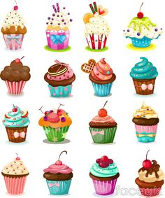 Free download 16 delicious cupcake vector . Free vector includes Vector material, fruit, whipped cream, chocolate, baked goods, cakes, cookies, cupcakes, fruit
