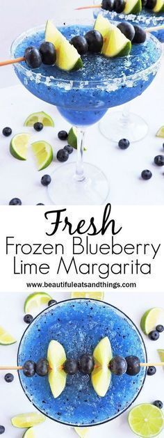 Fresh Frozen Blueberry Lime Margarita - Beautiful Eats & Things - - What's better than an ice-cold margarita? A cold, Fresh Frozen Blueberry Lime Margarita with FRESH blueberries and lime! Beste Cocktails, Healthy Cocktails, Yummy Drinks, Frozen Alcoholic Drinks, Non Alcoholic Margarita, Summer Cocktails, Refreshing Drinks, Good Drinks, Alcholic Drinks