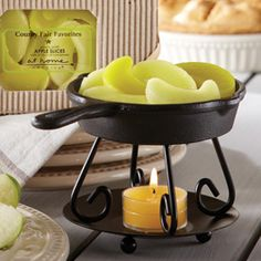 "Grandma's Cast Iron Fryer Diffuser  A miniature version of the fryer your grandma might have owned! Cook up some wonderful aromas in your home when you pair this black metal diffuser with our County Fair Favorites (sold separately). 61⁄2""w x 4""h"