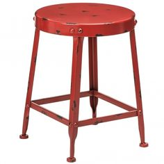 We are proud to introduce this Red Artisan Stool. It has a gorgeous design which looks very simplistic, given an industrial and modern touch. Contemporary Lounge, Contemporary Furniture, Modern Interior Design, Luxury Interior, How To Dress A Bed, Storage Stool, Round Stool, Metal Stool, Modern Stools