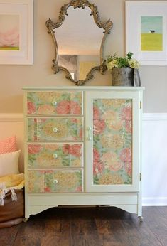 s 30 jaw dropping furniture flips you have to see to believe, painted furniture, Garage Sale Armoire to Decoupaged Diva