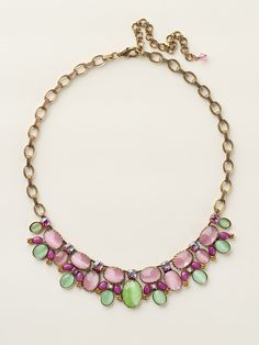 Semi-Precious Oval Cluster Bib Necklace in Juicy Fruit - Sorrelli