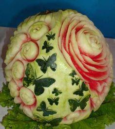 Watermelon Flowers & Butterflies