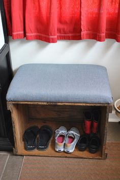 Wood Crate Storage Bench- Easy DIY Project- might work as a temp solution by side door. These boxes are fairly cheap ($10) at local antique stores