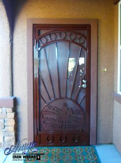 Cheyenne   Wrought Iron Security Screen Door With Plasma Cut Cowboy Scene  And Horseshoe Castings Model