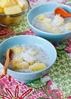 Buckwheat cereal bowl with pineapple, banana, and coconut.
