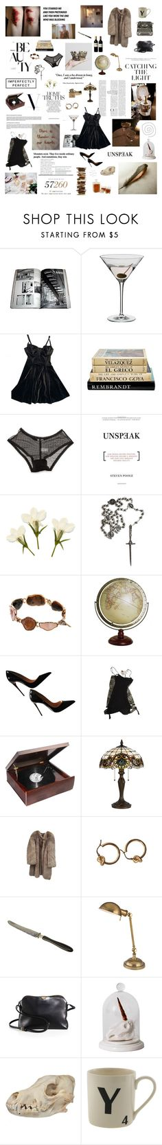 """""""I am late, late"""" by pryderus ❤ liked on Polyvore featuring GET LOST, Dartington Crystal, American Apparel, Ganni, Pamela Love, Kimberly McDonald, Christian Louboutin, La Perla, Cal Lighting and Fendi"""