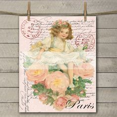 Shabby Chic Digital French Flower Girl, French Valentine Digital Transfer, Vintage Pillow Graphic Image by FrenchPaperMoon on Etsy