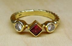 Vintage David Yurman .50ct Ruby and Diamond14k Yellow Gold Cable Engagement Ring by DiamondAddiction on Etsy